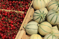 Melons and cherries Royalty Free Stock Image
