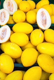 Melons jaunes canari jaunes à vendre Images stock