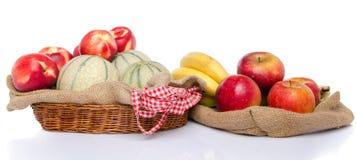 Melons, nectarines, apples and bananas Royalty Free Stock Photo