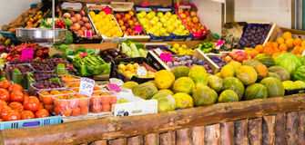 Melons and Other Fruit in Spanish Market stock photos
