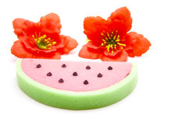 Melons sponge with hibiscus blossom. On white background Stock Image