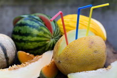 Melons with straws Stock Image