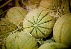 Melons sur une stalle du marché Photos libres de droits