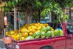 Melons in Truck. A truckload of rock melons and watermelons for sale in Greek village Royalty Free Stock Image