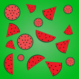 Melons and watermelons pieces. Vector illustration of a watermelon pink and red pulp with seeds and slices of watermelon with seeds on a bright green gradient royalty free illustration