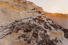 在Melos海岛,希腊的Sykia洞 免版税图库摄影