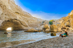 在Melos海岛,希腊的Sykia洞 图库摄影