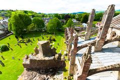 Melrose abbey. Photo from the rooftop of the Melrose Abbey in Melrose, Scotland, UK Royalty Free Stock Photos