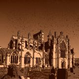 Melrose Abbey ruins. Colorful depiction of the ruins of Melrose Abbey in Scotland Royalty Free Stock Image