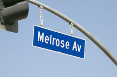Melrose Ave Street Sign Royalty Free Stock Photos