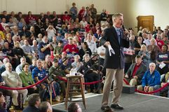 Senator Scott Brown. Melrose, Massachusetts, USA - October 2012 - Senator Scott Brown speaking to audience on stage during a Grassroots Rally at the Soldiers & Royalty Free Stock Images