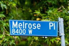 Melrose Place Road Sign in Los Angeles Royalty Free Stock Photography