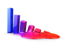 Melt of graph down. Melt of color graph down Royalty Free Stock Photography