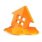 Melt of home. Melt of plastic home isolated Royalty Free Stock Photo