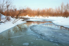 Melt in spring - threat of the flood. Frozen river. Melt in spring - threat of the flood. Natural disaster royalty free stock images