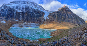 Melt-water lake below Mount Edith Cavell Stock Images