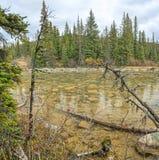 Melt-water lake below Mount Edith Cavell Stock Photo