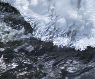 Meltdown. Melting ice over the rushing stream Stock Photo