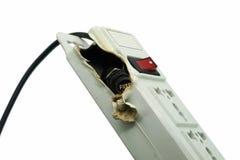 Meltdown and Burn Power Bar Plug. A Meltdown and Burn Power Bar Plug Royalty Free Stock Image