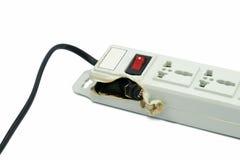 Meltdown and Burn Power Bar Plug. A Meltdown and Burn Power Bar Plug Royalty Free Stock Photo