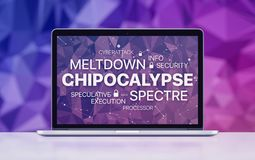 Meltdown and spectre threat concept on laptop screen on ultraviolet polygonal background. Chipocalypse concept with meltdown and spectre threat. Chipocalypse Stock Image