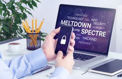 Meltdown and spectre threat concept on laptop and smartphone screen. Meltdown and spectre vulnerability concept. Chipocalypse meltdown and spectre threat on Royalty Free Stock Photos