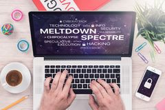 Meltdown and spectre threat concept on top view laptop screen with mans hands on office desk royalty free stock images