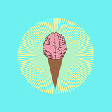 Melted  brain/ ice cream in front of sunburst, the glory of stupidity Stock Photography