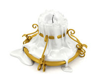 Melted candle and gold candle holder Stock Photography