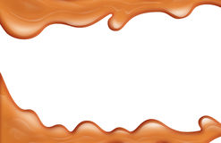 Melted caramel. Melted sugar caramel isolated on white vector illustration