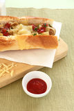 Melted Cheese Hot Dog Stock Image