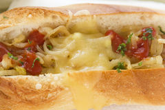 Melted Cheese Hot Dog Stock Images