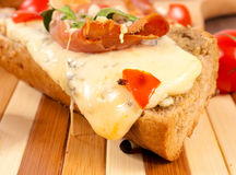 Melted cheese on sandwich Royalty Free Stock Photos