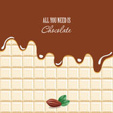 Melted chocolate background with sample text. Cocoa bean. Royalty Free Stock Image