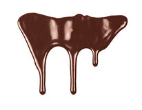 Melted chocolate dripping isolated on white background. Melted chocolate dripping on white background royalty free stock image