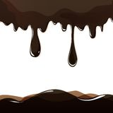 Melted chocolate dripping set on white background  Stock Images