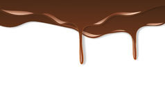 Melted chocolate dripping. On white background Royalty Free Stock Photos