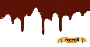 Melted chocolate dripping on white background Stock Images