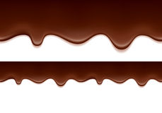 Melted chocolate drips - horizontal border. Royalty Free Stock Photos