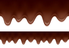 Melted chocolate drips - horizontal border. Stock Photography