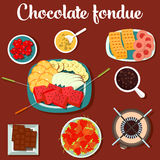 Melted chocolate fondue with cookies and strawberry, lemon on plate Stock Photos