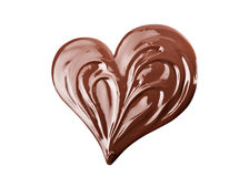 Melted chocolate heart. Melted chocolate heart shaped. Swirl isolated on white background Royalty Free Stock Images