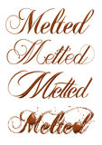 Melted chocolate text isolated on white background Royalty Free Stock Photo