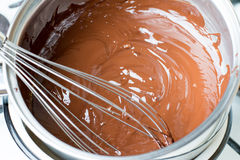 Melted chocolate in a water bath. In a stewpan Royalty Free Stock Image