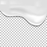Melted cream dripping on transparent background. Realistic  background Stock Photos