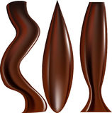 Melted Dark Chocolate Dripping on White Background Stock Photos