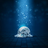 Melted disco ball. 3D illustration of fallen mirror ball melting on disco floor Royalty Free Stock Image