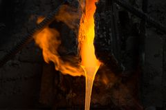 Melted glass furnace in glass factory Royalty Free Stock Photos