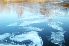 Melted ice on the water. Which reflects the sky and trees royalty free stock image