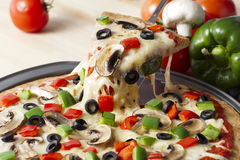Melted pizza. On the pan royalty free stock photos